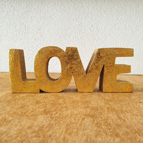 Love Wooden Word Sign - Gold - The Chic Nest