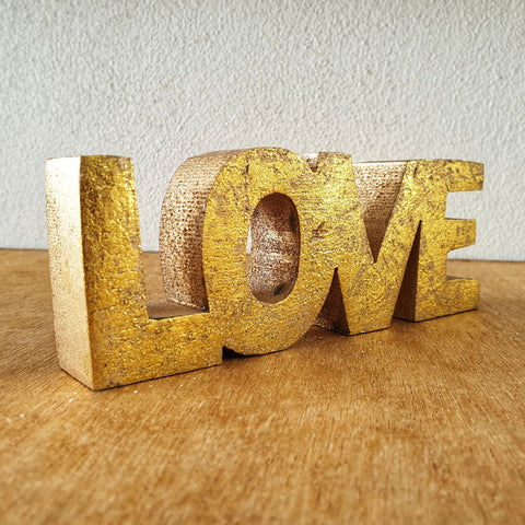 Love Wooden Word Sign - Gold