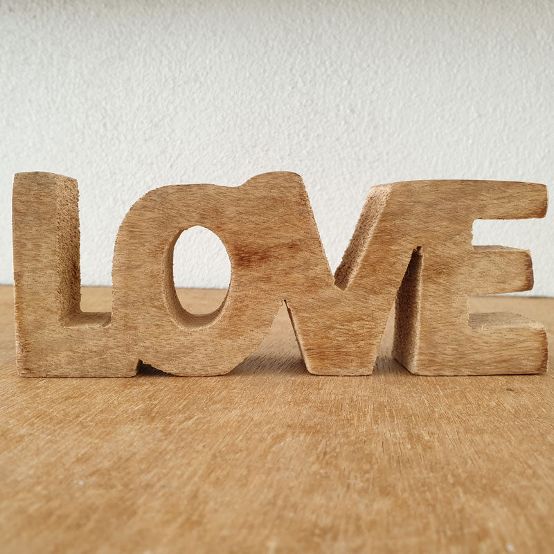 Love Wooden Word Sign - Natural