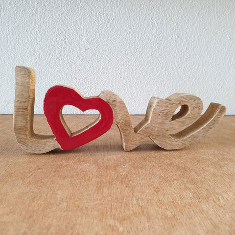 Love Wooden Word Sign - Red