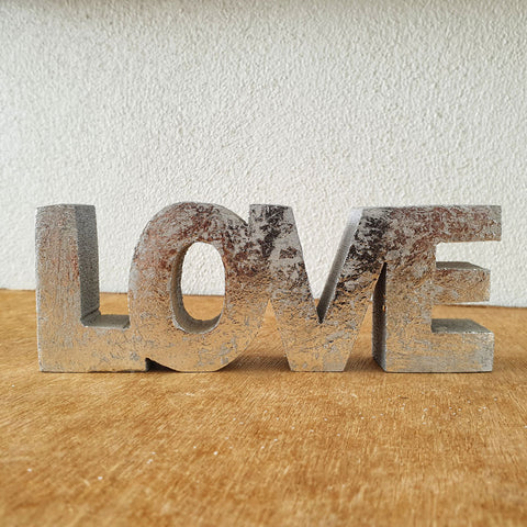 Love Wooden Word Sign - Silver