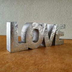 Love Wooden Word Sign - Silver - The Chic Nest