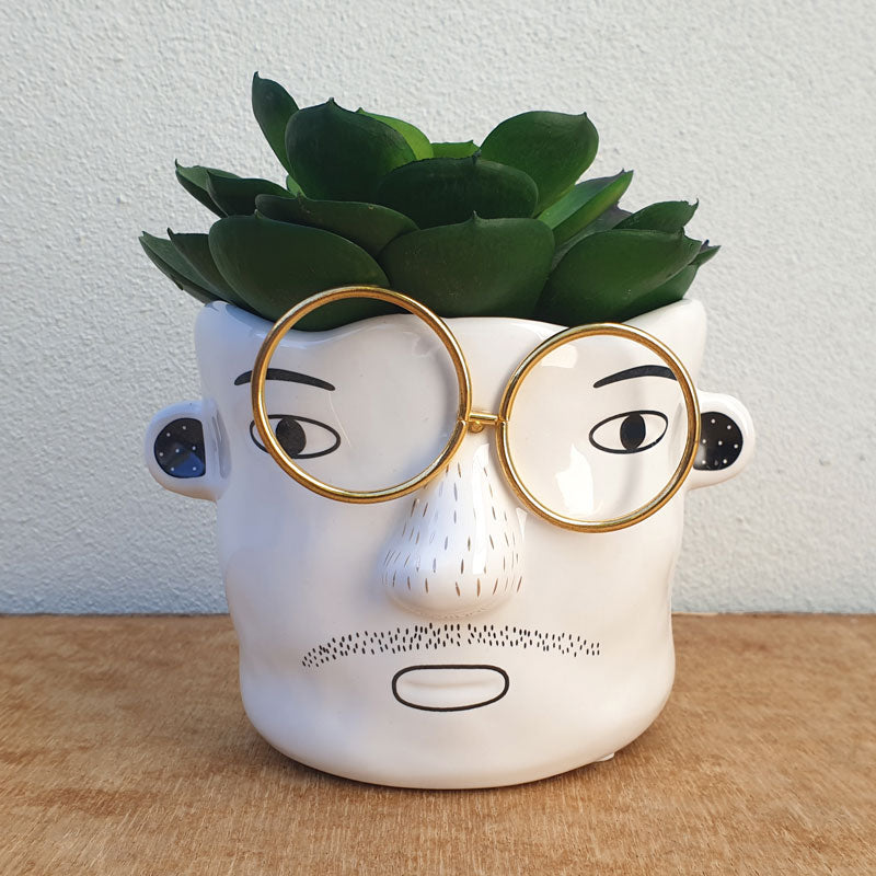 Man With Metal Glasses Planter