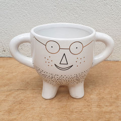 Man With Glasses Plant Pot