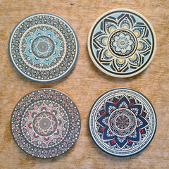 Mandala Set of 4 Coasters - Earth