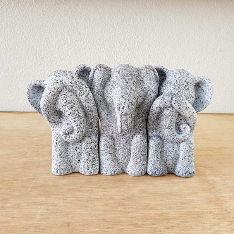 Three Wise Elephants - Marble Black