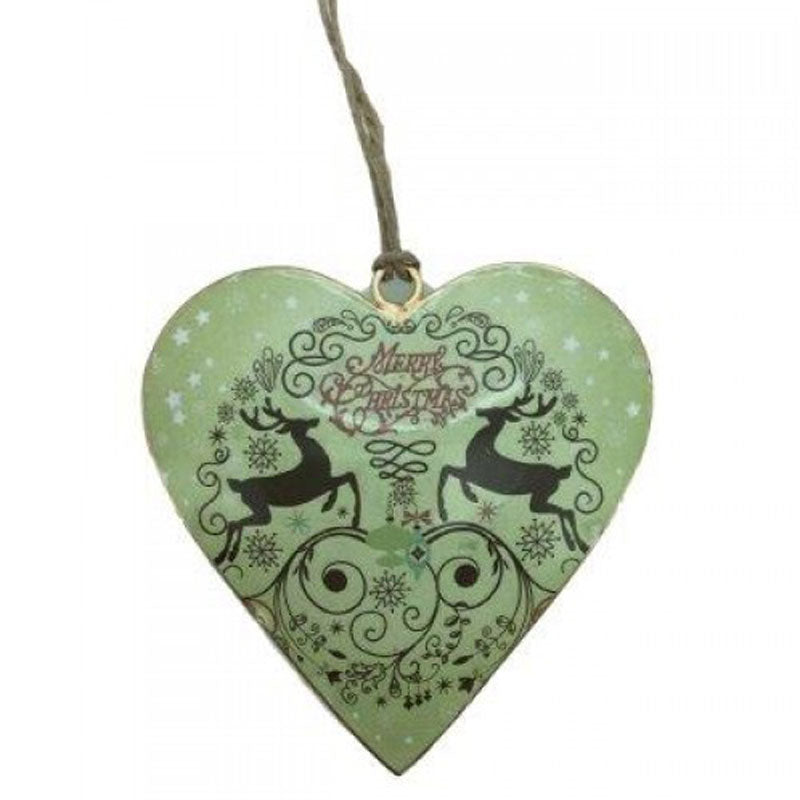 Merry Christmas Green Deer Heart Ornament - The Chic Nest