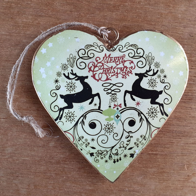 Merry Christmas Green Deer Heart Ornament