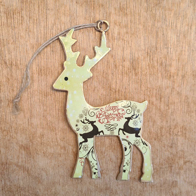 Merry Christmas Green Reindeer Ornament