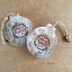 Wooden Merry Christmas Bauble Ornament
