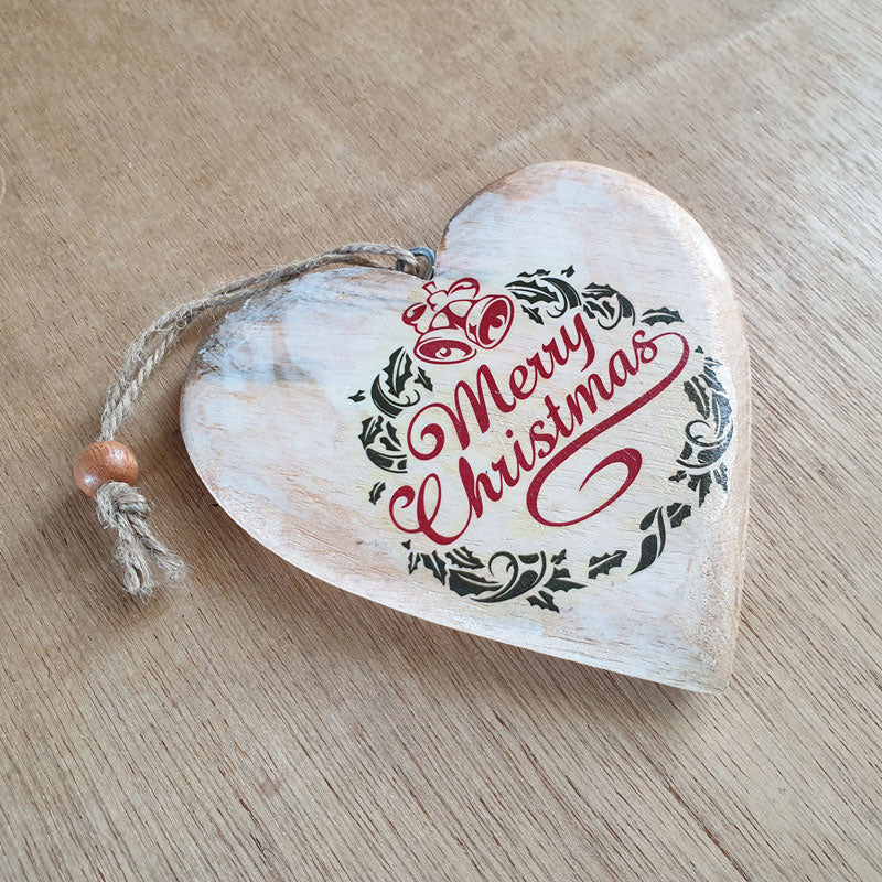 Wooden Merry Christmas Heart Ornament