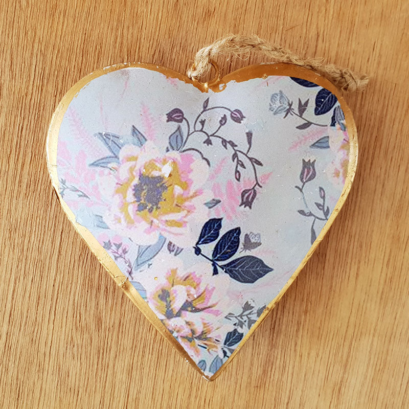 Flowers Metal Heart Ornament - The Chic Nest
