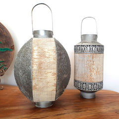 Metal & Bamboo Cylinder Lantern - The Chic Nest