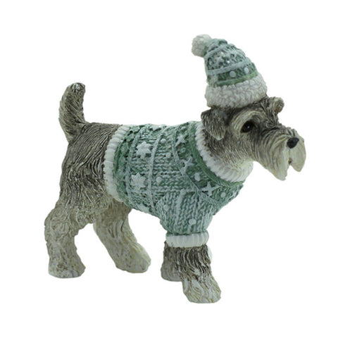 Mini Schnauzer Christmas Figurine - Green
