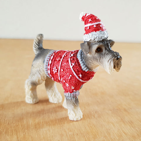 Mini Schnauzer Christmas Figurine - Red