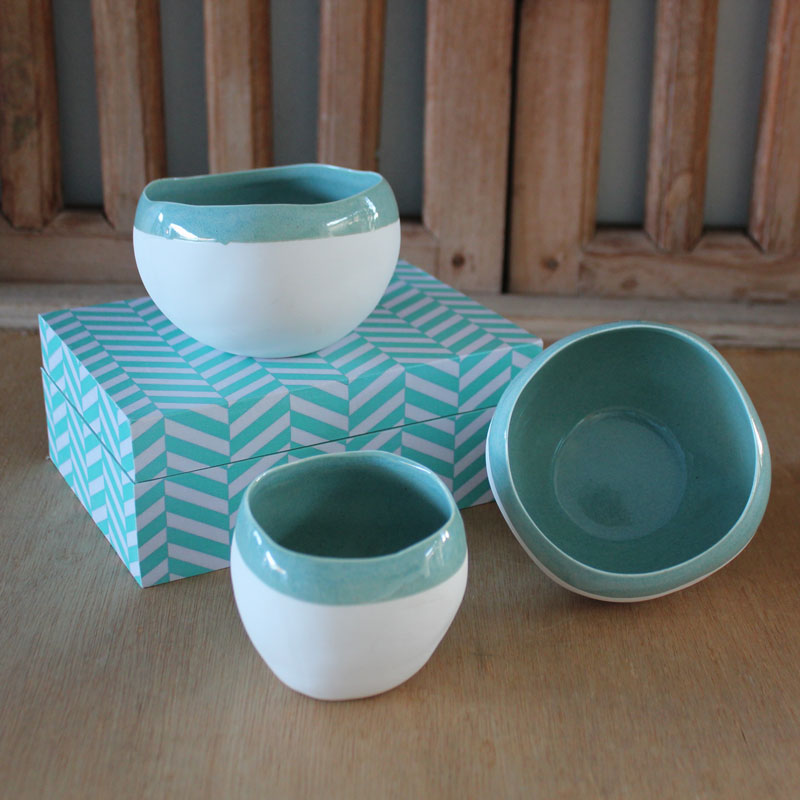 Mint Striped Dipping Bowl - Small