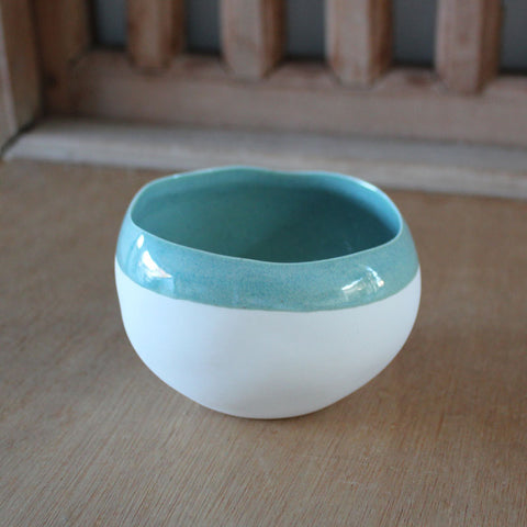 Mint Striped Dipping Bowl