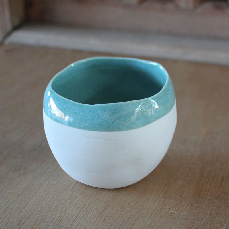Mint Striped Dipping Bowl - Small - The Chic Nest