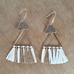 Mocha Triangle Tassel Boho Earrings - The Chic Nest