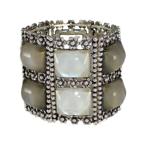 Silver Stretch Moonstone Bracelet - The Chic Nest