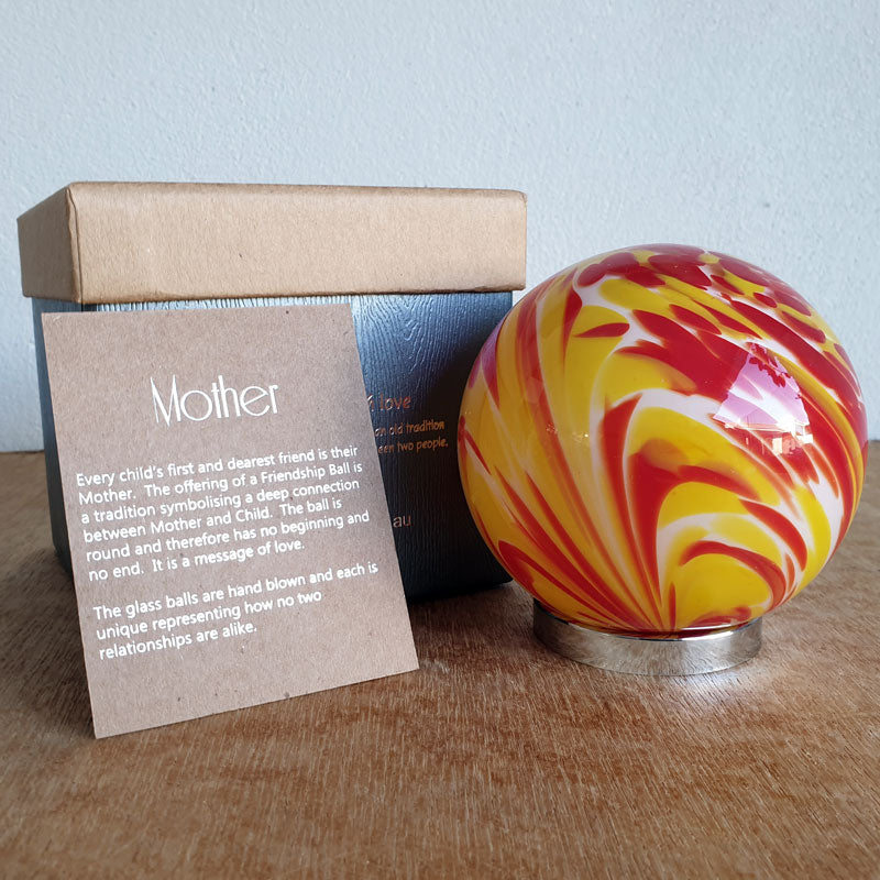 Mother Friendship Ball Red and Yellow Swirls