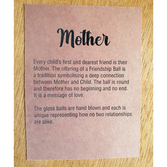 Mother Friendship Ball Clear Blue Swirls