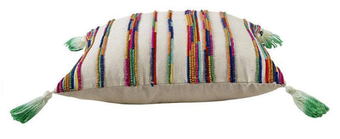 Multi Colour Hand Beaded Cushion