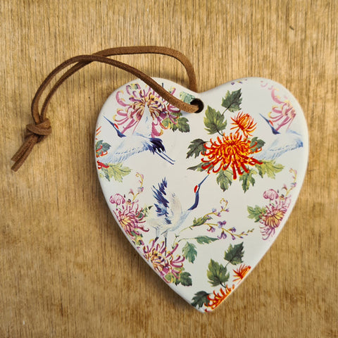 Hanging Heart Heron Ornament - Mum