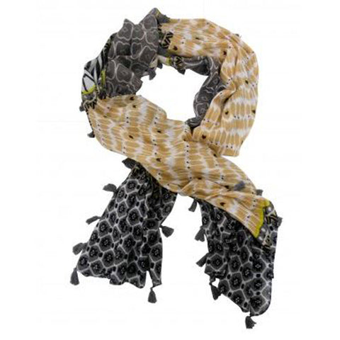 Mustard and Charcoal Tassel Edged Scarf