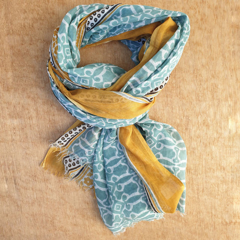 Mustard & Mint Cotton Scarf