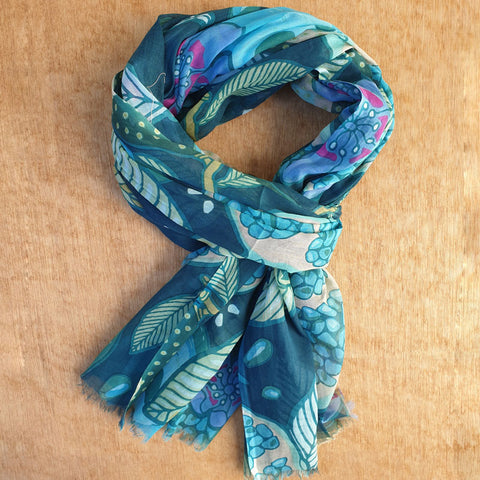 Navy Teal Floral Scarf - Cotton
