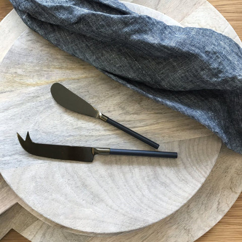 Onyx Cheese Knife & Spreader Set - The Chic Nest