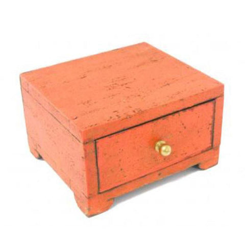 Orange Distressed 1 Drawer Box - The Chic Nest