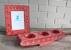 Orange Cutout Triple Candle Holder - The Chic Nest