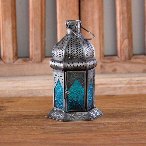 Ornate Turquoise Iron and Glass Lantern