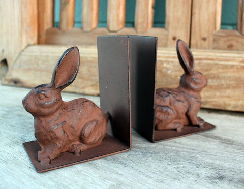 Set of 2 Iron Rabbit Bookends