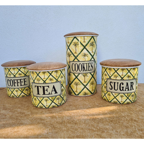 Coffee, Tea & Sugar Canister Palm Trees - Set of 3