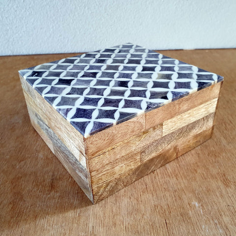 Handmade Wooden Box- Patterned Bone Inlay
