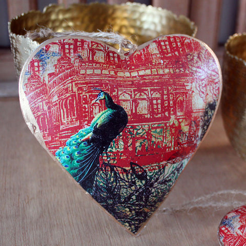 Peacock Heart Ornament - The Chic Nest