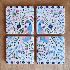 Peacock Set of 4 Coasters