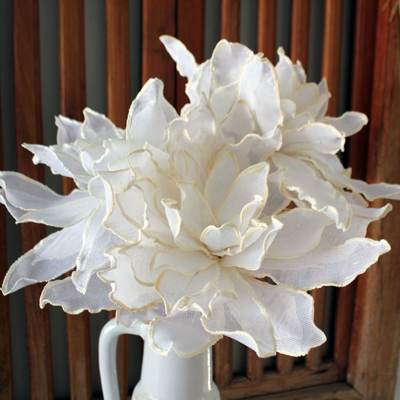 Peony Mesh Stem - White - The Chic Nest