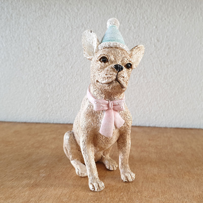 Sitting Dog With Bowtie Christmas Figurine