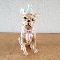 Sitting Dog With Bowtie Christmas Figurine - The Chic Nest