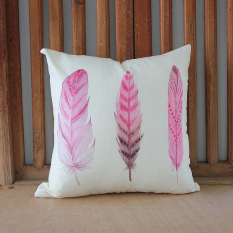 Pink Feathers Trio Cushion - The Chic Nest