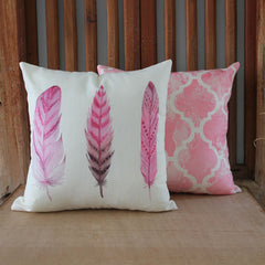 Pink Feathers Trio Cushion