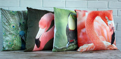 Flamingo Velvet Cushion - The Chic Nest