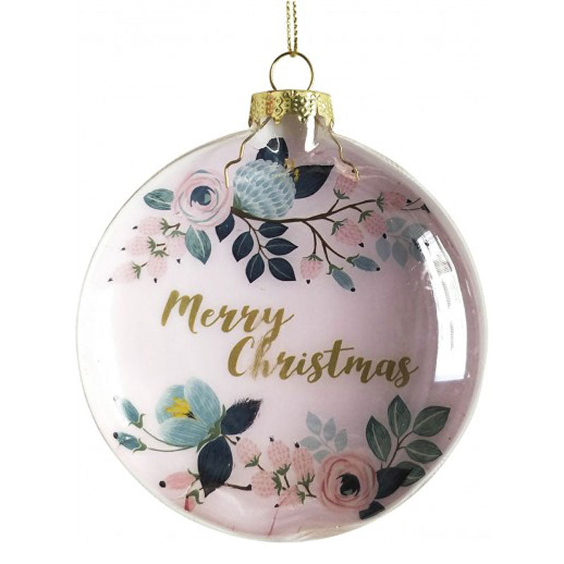 Pink Floral Merry Christmas Bauble