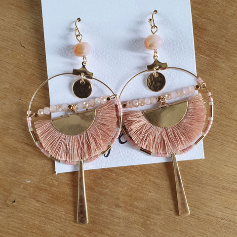 Pink Moon Hoop Boho Earrings - The Chic Nest