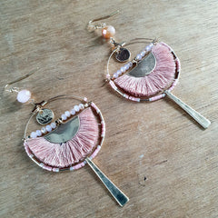 Pink Moon Hoop Boho Earrings