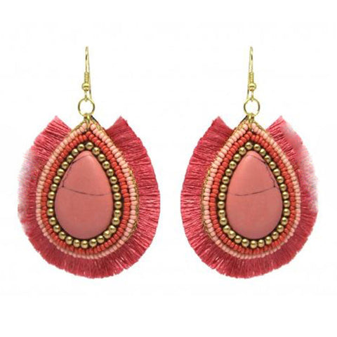 Pink Stone Fringed Earrings